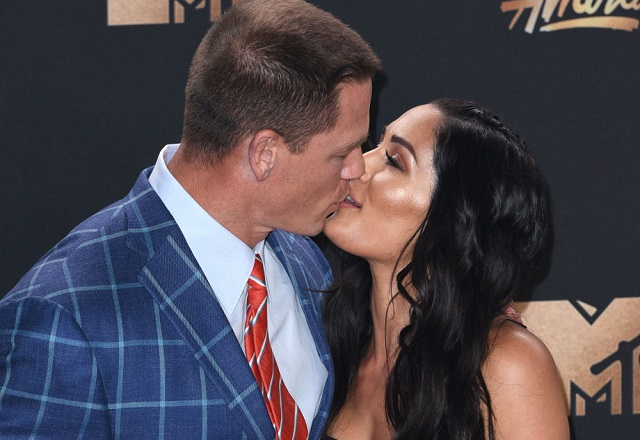 John Cena kissing girlfriend Nikki Bella