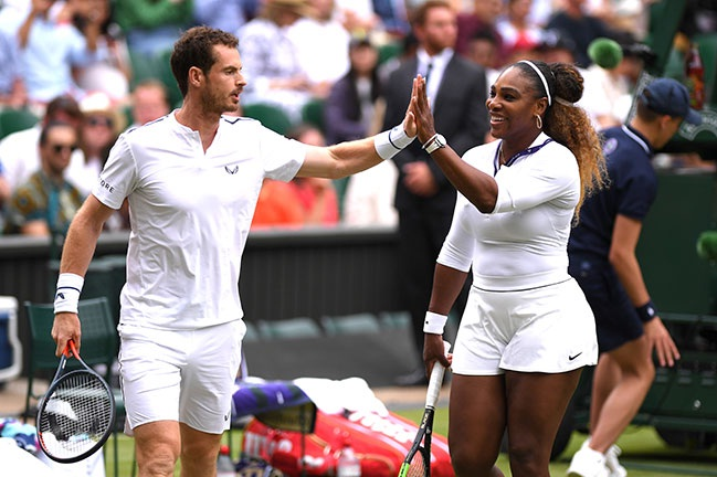 Andy played with Serena Williams at Wimbledon this year