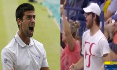 Navak Djokovic angry yells at a Roger Federer fan