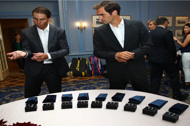 Roger Federer helps Rafael Nadal suit up for Laver Cup 2019 launch