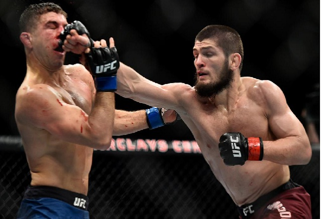 reigning UFC champion Khabib Nurmagomedov defends his belt against interim champ Dustin Poirier