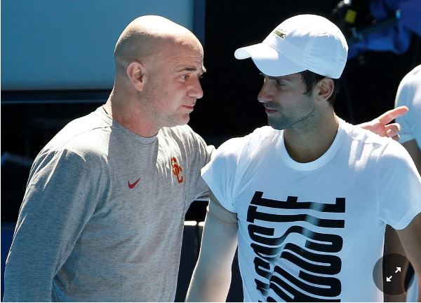 Novak Djokovic and coach