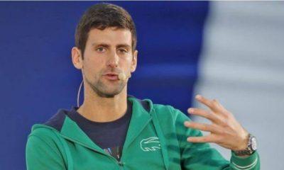 Novak Djokovic and mic