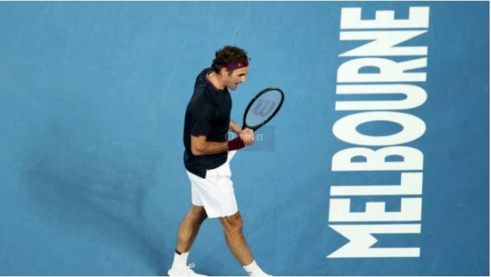 Roger Federer on pitch