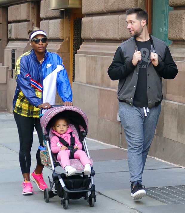 EXCLUSIVE: Serena Williams, husband Alexis and daughter take a Sunday stroll before the start of the US Open ***SPECIAL INSTRUCTIONS*** Please pixelate children's faces before publication.***. 25 Aug 2019 Pictured: Serena Williams, Alexis Ohanian, Alexis Olympia Ohanian Jr. Photo credit: KAT / MEGA TheMegaAgency.com +1 888 505 6342 (Mega Agency TagID: MEGA488490_003.jpg) [Photo via Mega Agency]