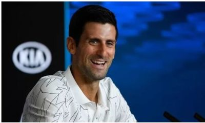Novak Djokovic laughing