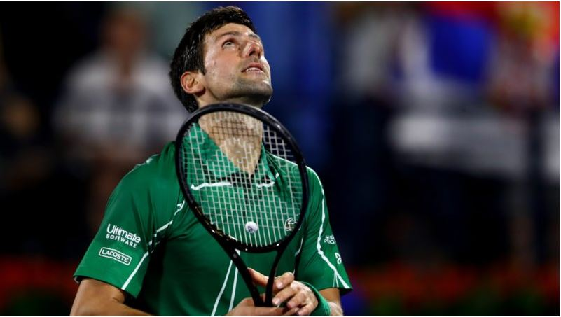 Novak Djokovic looked up