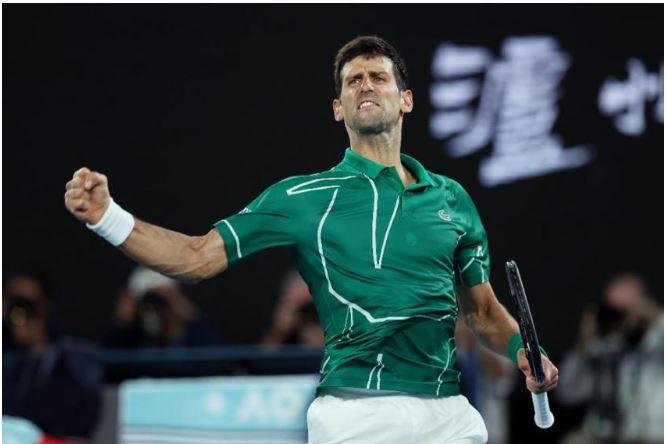 Novak Djokovic reacting