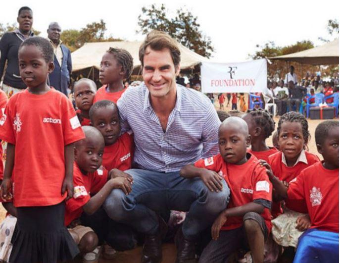 Roger Federer and children