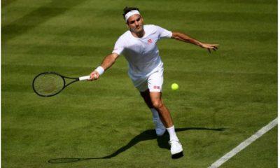 Roger Federer plays on court