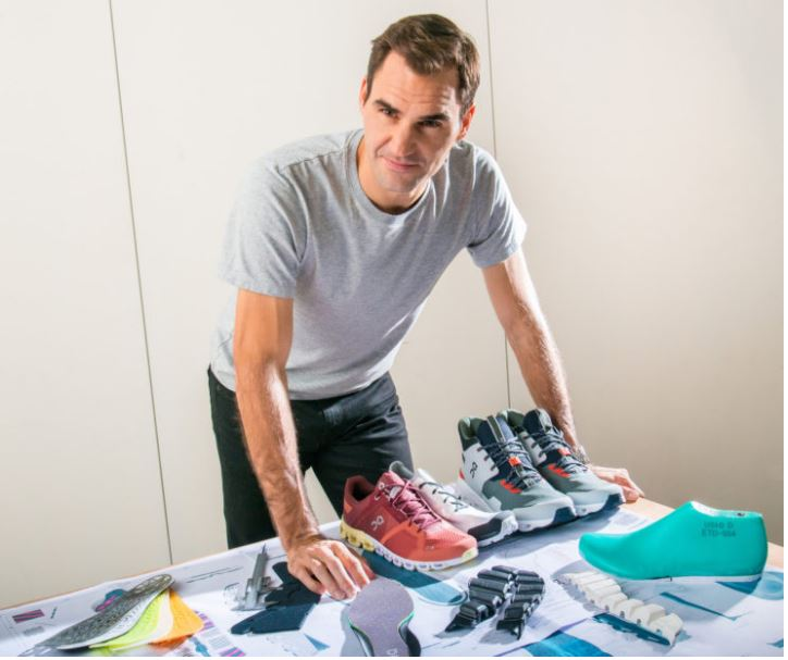 Roger Federer stands