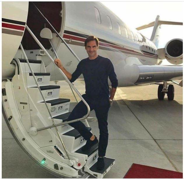 Roger Federer with jet