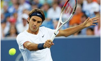 Roger Federer with racket
