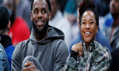 Lebron James smile with wife