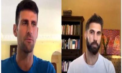 Novak Djokovic and friend chat