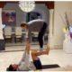 Novak Djokovic and wife stunt