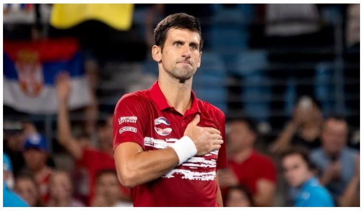Novak Djokovic touch chest