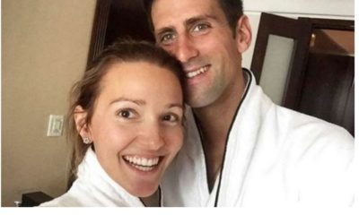 Novak Djokovic with wife
