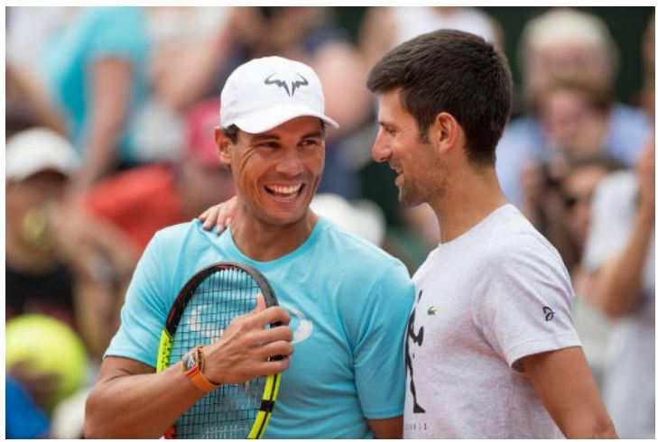 Rafael Nadal and Novak Djokovic smile