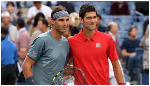 Rafael Nadal and Novak Djokovic smile