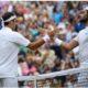 Roger Federer and Matteo Berretini shake