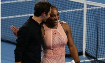 Roger Federer and Serena Williams walk