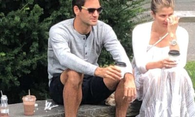 Roger Federer and wife at river