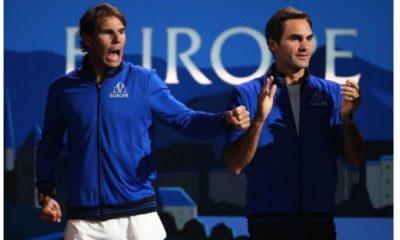 Roger federer and Rafael Nadal cheer