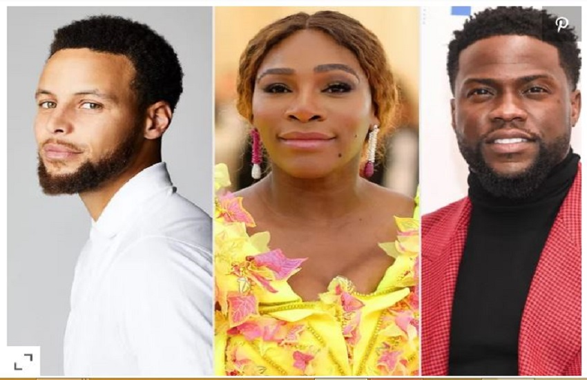 Serena Williams, Stephen Curry and Kevin Hart
