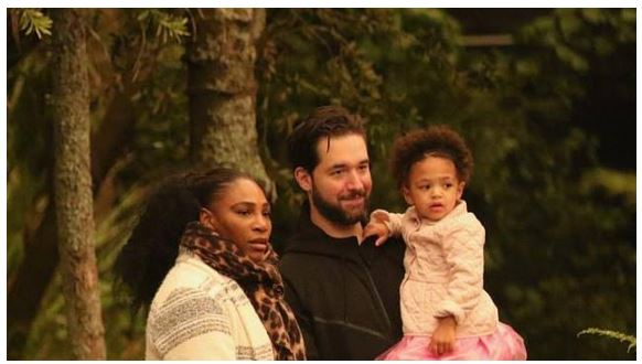 Serena Williams with husband & child
