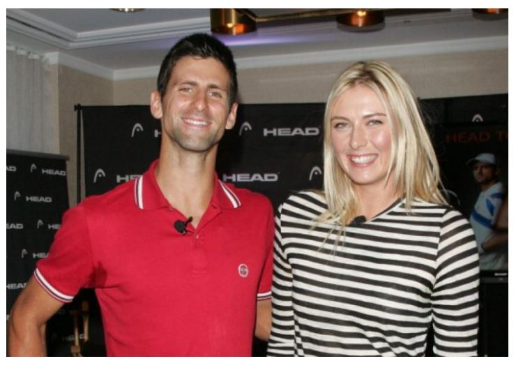 Maria Sharapova and Novak Djokovic smile