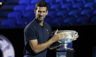 Novak Djokovic holds trophy