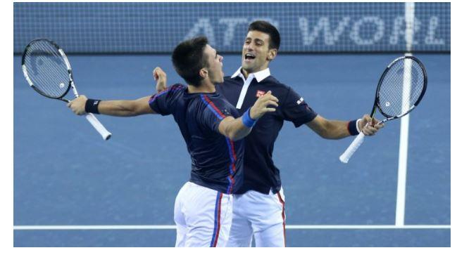 Novak Djokovic with brother play