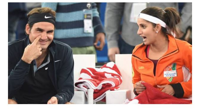 Roger Federer and Sania Mirza smile