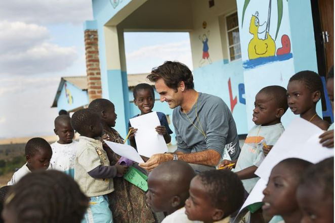 Roger Federer and kids