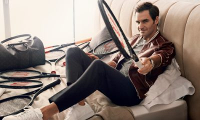 Roger Federer sitting at home