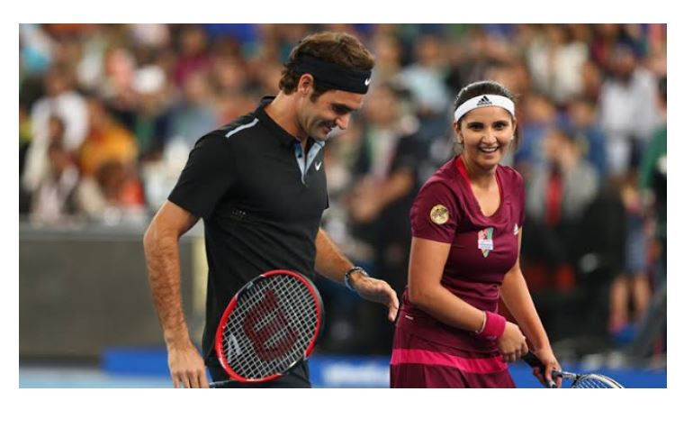 Roger Federer with Sania Mirza
