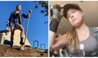 Ronda Rousey with shovel