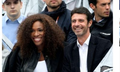 Serena Williams and coach smile