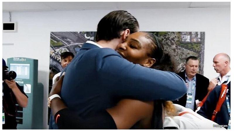 Serena Williams and husband hug