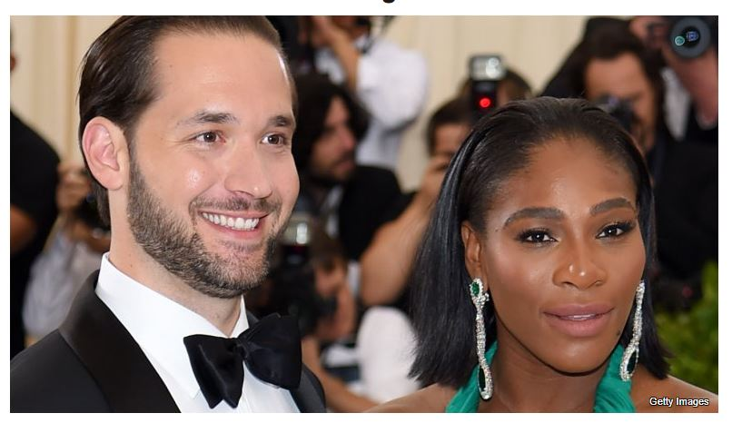 Serena Williams and husband laughing