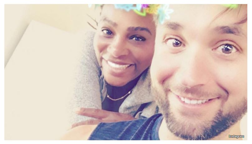 Serena Williams and husband smiling