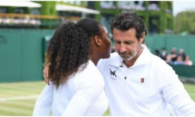 Serena Williams with coach