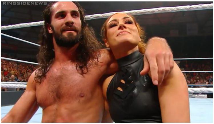 Seth Rollins hug Becky Lynch
