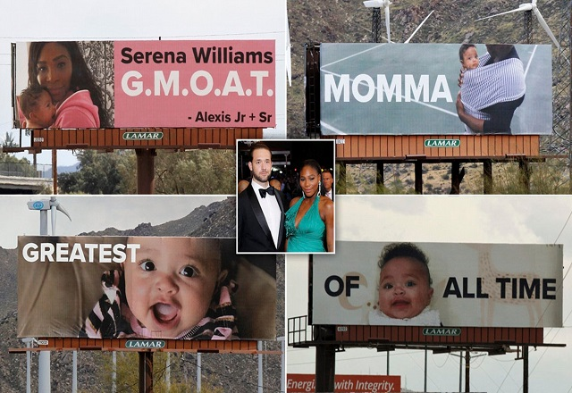 Alexis Ohanian surprises wife Serena Williams with four billboards of daughter