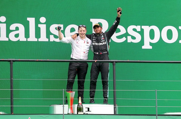 Lewis Hamilton with his Race Engineer