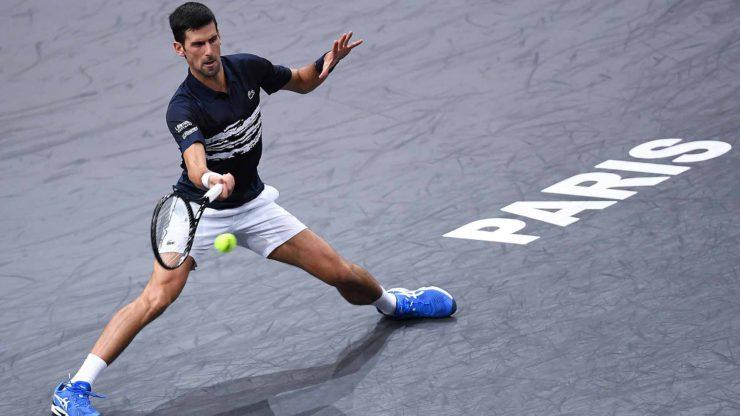 Novak Djokovic in Rolex Paris tennis court