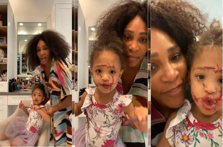 Serena Williams and daughter Olympia makeup