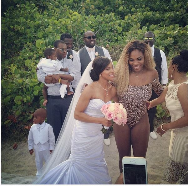 Serena Williams sneaks into beach wedding