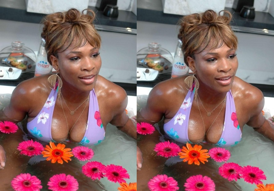Serena Williams bikini bathtub